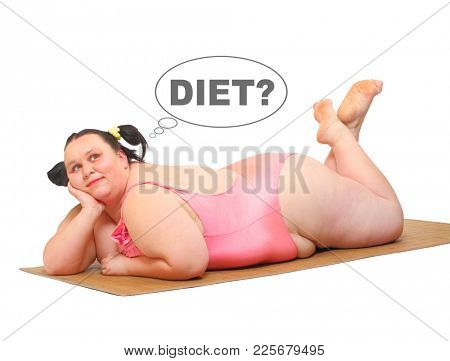 Overweight woman in swimmsuit tanning on the beach. People isolated on white background. Healthy lifestyle, slimming and dieting theme. Weight loss idea. Picture with space for your text.