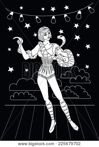 Vintage Circus Illustrations Collection. Tall Woman With The Anaconda