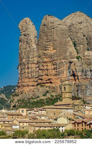 View Of Church Bellfry Below Aguero Mountains, Huesca, Spain N2