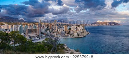 Wide Breathtaking Panoramic View Of Benidorm With High Skyscrapers, Mountains And Sea