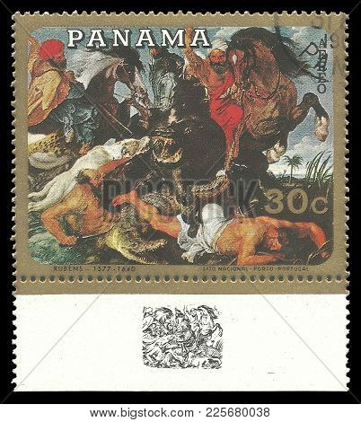 Panama - Circa 1968: Stamp Printed By Panama, Color Edition On Art, Shows Painting Hunting For A Wil