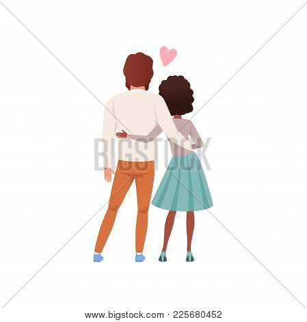 Young Man And Woman Characters Standing Embracing Back View, Happy Romantic Couple In Love Cartoon V