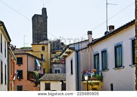 Old Residential Area In The Medieval Italian City Of Castiglion Fiorentino. Castiglion Fiorentino, O