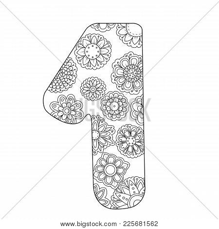 Zen Coloring Book For Adults Number One. Figure 1 Tangle Pattern. Floral Ornament Vector Illustratio