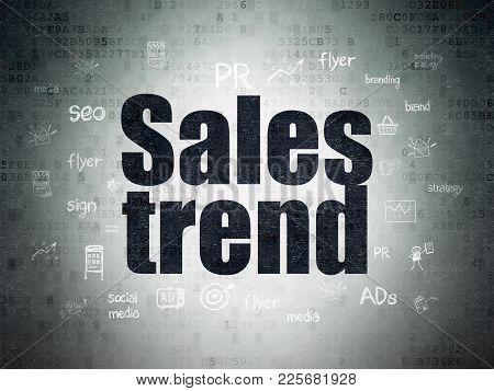Marketing Concept: Painted Black Text Sales Trend On Digital Data Paper Background With  Hand Drawn