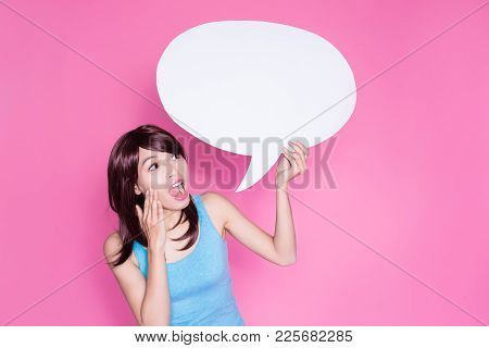 Woman Take Speech Bubble On The Pink Background