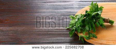 Fresh Green Parsley On The Wooden Table, Selective Focus, Banner
