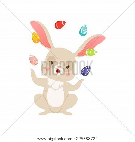 Cute Cartoon Bunny Juggling With Colored Eggs, Funny Rabbit Character, Happy Easter Concept Cartoon