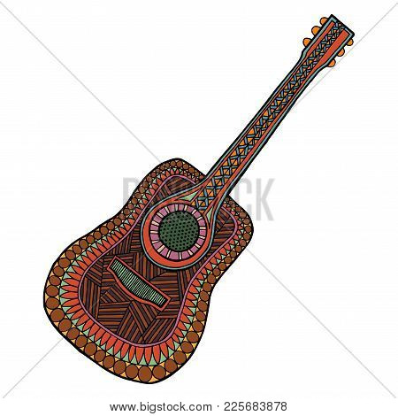 Guitar Tangle Pattern Vector Illustration. Musical Instrument. Isolated Image Of Coloring Book For A