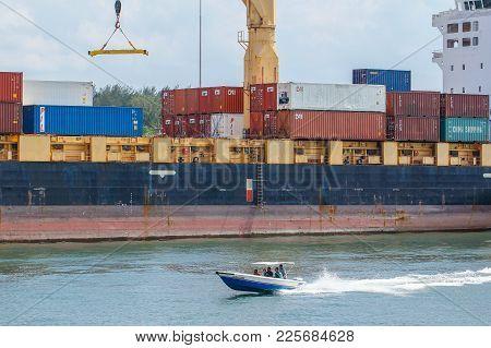 Labuan,malaysia-feb 2,2018:china Cargo Containers On Shipping Containers At Labuan Port,malaysia.chi