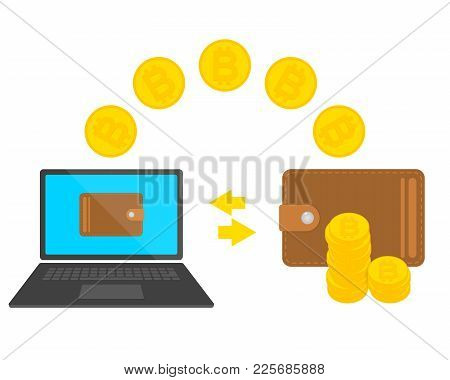 Design Concept Of Cryptocurrency Technology, Bitcoin Exchange, Mobile Banking. Transfer From Laptop