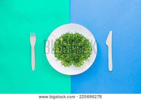 Top View Plate With Fresh Organic Sprout Micro Greens Served With Wooden Cutlery On The Bright Doubl