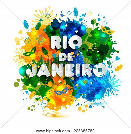Illustration Of Rio De Janeiro From Brazil Vacation On Watercolor Stains, Colors Of The Brazilian Fl