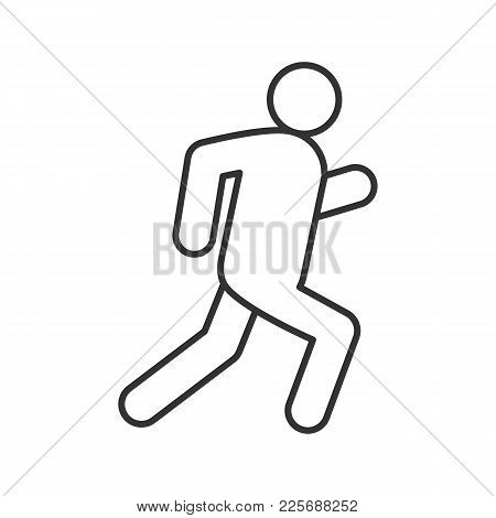 Running Man Linear Icon. Escape. Thin Line Drawing. Jogging. Contour Symbol. Isolated Vector Illustr