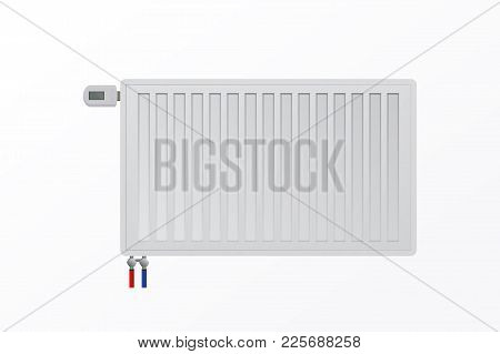 Vector Steel Panel Radiator On Wall. The Thermostatic Control Valve. Hvac System.