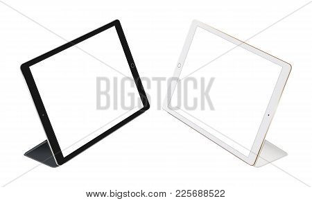 Tablet Computer With Cover Isolated On White Background. Black And White Tablets Stand With Cases. T