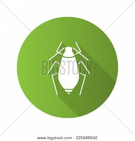 Aphid Flat Design Long Shadow Glyph Icons Set. Insect Pest. Plant Lice. Vector Silhouette Illustrati