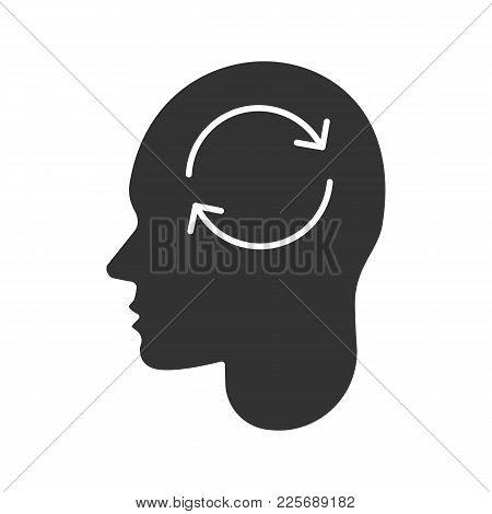 Human Head With Refresh Sign Inside Glyph Icon. Artificial Intelligence. Silhouette Symbol. Synchron
