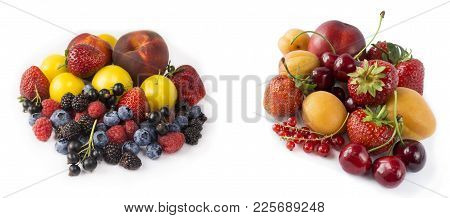 Set Of Fresh Fruits And Berries Isolated On White. Mix Berries On A White. Berries And Fruits With C