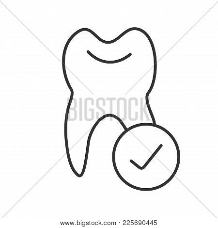 Tooth With Checkmark Linear Icon. Healthy Teeth. Thin Line Illustration. Dentistry. Contour Symbol.
