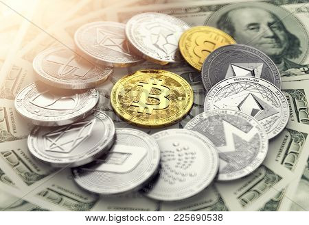 Circle Made Of Different Cryptocurrencies With A Golden Bitcoin In The Middle Laying On Dollar Bills