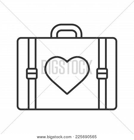 Travel Luggage Suitcase With Heart Shape Linear Icon. Thin Line Illustration. Baggage. Contour Symbo