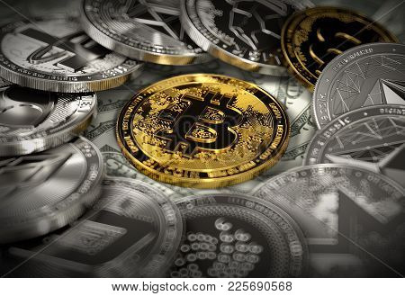 Bitcoin In The Middle Of Cryptocurrency Coins In Blurry Macro Shot. Bitcoin In The Center Of Attenti