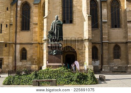Sibiu - Romania, July 18, 2017: Main Courtyard Of The Lutheran Cathedral Of Saint Mary In Romanian S