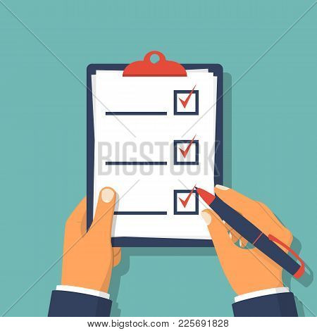Checklist Clipboard. Human Holding Checklist And Pencil. Questionnaire, Survey, Task List. Vector Il