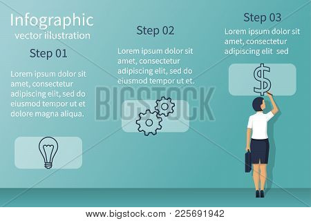 Presentation Information Structure. Template Infographic. Business Planing. Businesswoman Is Present
