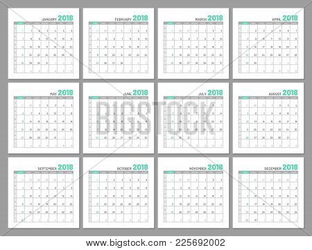 Set Identical Light Calendars, 2018, Months, Flat. Diary For Notes, Scheduling, Marks Of Important D