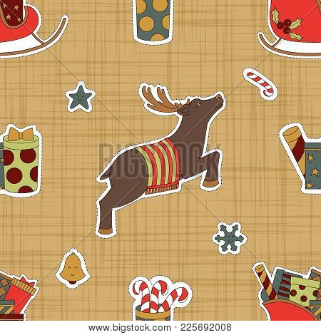 Stickers For Christmas. Reindeer And Gifts. Seamless Pattern Background. Magic Vector Illustration.