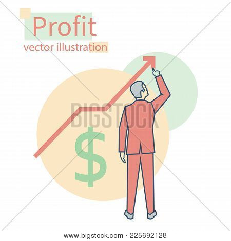 Profit Growth. Business Concept. Finance Investment. Chart Improvement. Businessman Raises Graph. Fi