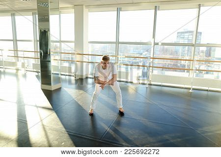 Choreographer Select Moves For New Hip-hop Dance, Boy With Mustache Training With Group. Tattooed Ba