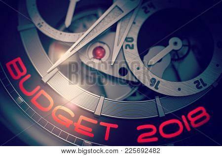 Budget 2018 On Face Of Men Pocket Watch, Chronograph Closeup. Budget 2018 - Black And White Closeup
