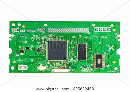The Electronic Circuit Boards Of Dvd Writer Isolated On A White Background.