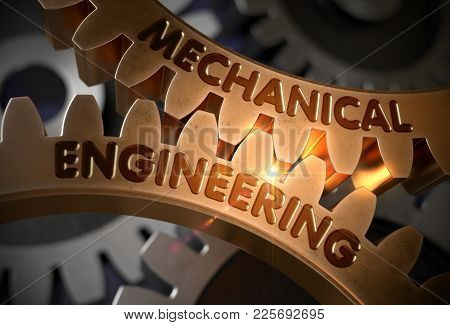 Golden Metallic Gears With Mechanical Engineering Concept. Mechanical Engineering - Illustration Wit
