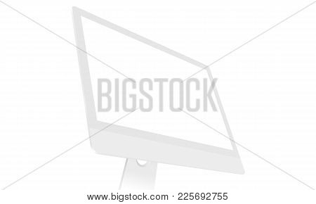 Computer Monitor Mockup With Blank Screen Isolated On White Background. Perspective View To Showcase