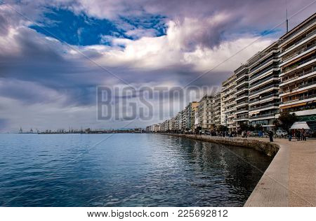 View Of Buildings On Seafront And Thermal Bay In Thessaloniki, Greece .