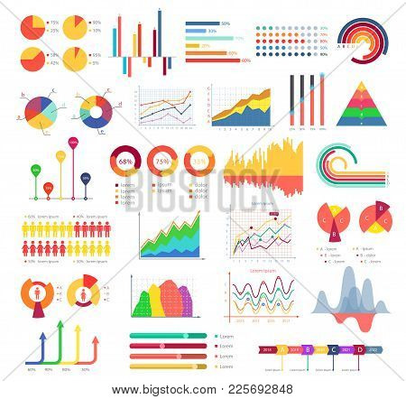 Business Graphics And Charts. Bar Charts And Pie Charts, Forms Of Business Graphics For Pictorial Re