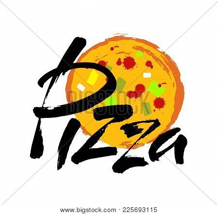 Pizza Hand-lettering Calligraphy. Pizza Hand Drawn Vector Stock Illustration. Modern Brush Ink. Isol