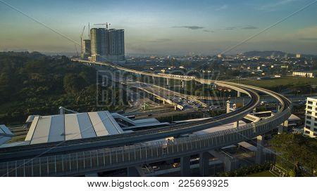 Kuala Lumpur, Malaysia - 3 February, 2018 : Aerial View Of Mrt Line In Sungai Buloh. The Mrt Is A Ne