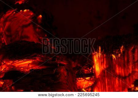 Macro Shot Of Wood Burning In An Oven