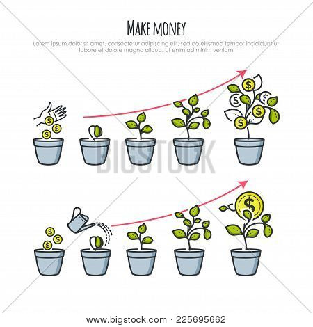 Investment Process With Money Tree And Businessman Hand. Investments And Financial Business Growth C