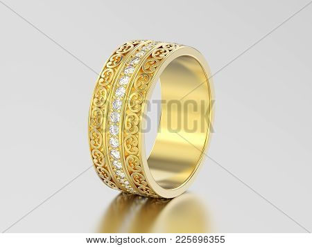 3d Illustration Yellow Gold Decorative Wedding Bands Carved Out Ring With Ornament On A Gray Backgro