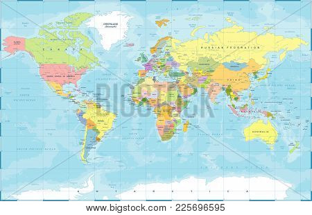 Political Physical Topographic Colored World Map Vector Illustration