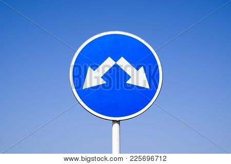 The Sign Of The Crossing. Road Signs. Sign On A Blue Background.
