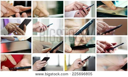 Collage Of Different People Hands Texting Or Typing Sms On Smartphones. They Using Cell Phones And S