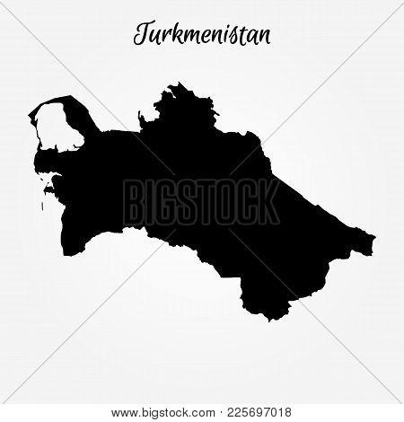 Map Of Turkmenistan. Vector Illustration. World Map
