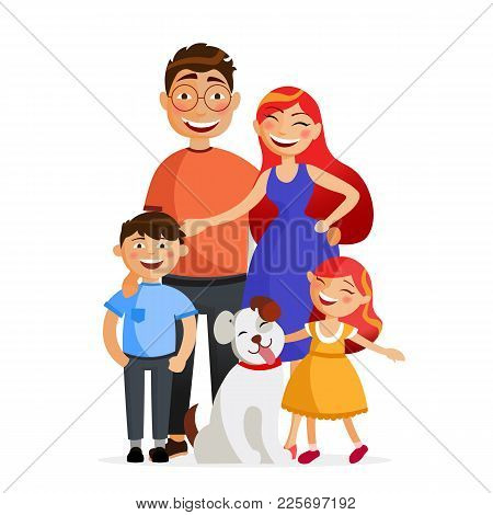 Happy Family Are Standing Together In Hug. Father, Mother, Son, Daughter And Dog. Family Flat Vector